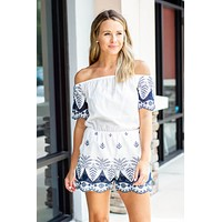 With You Now Embroidered Romper - White + Navy
