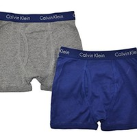 Calvin Klein Little/Big Boys' Assorted Boxer Briefs (Pack of 2) (Small / 6-7, Navy/Gray)