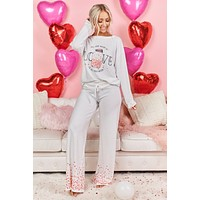 """All You Need Is Love"" Graphic Pajama Set (Ivory/Pink)"