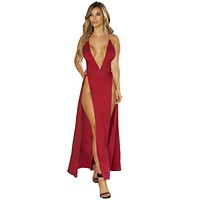 Sexy Back To You Satin High Slit Plunge Red Maxi Dress