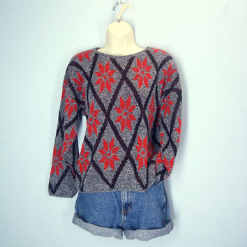 Vintage 80s Ugly Christmas Sweater / Poinsettia Sweater / Soft Knit