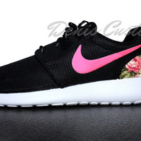 Nike Roshe Run One Black with Custom Pink Floral Print and Pink Paint Swoosh