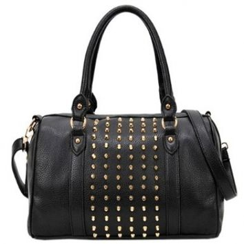 MG Collection HADA Gothic Studded Office Tote Style Bowling Handbag