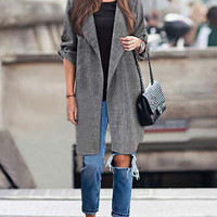 Grey Long Sleeve Long Coat