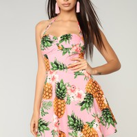 Pineapple Princess Skater Dress - Pink
