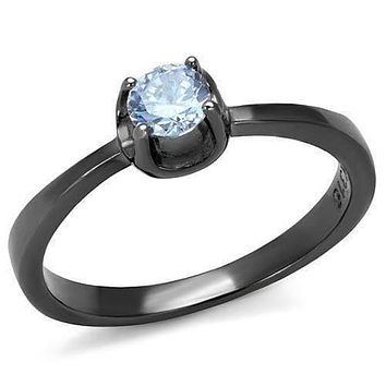 Engagement Rings For Women TK2609 Light Black Stainless Steel Ring with CZ