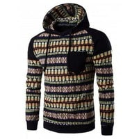 Color Block Tribal Print Pocket Hooded Raglan Sleeve Hoodie - Black M