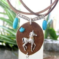 Leather Horse Necklace Genuine Turquoise Sterling Silver Pony