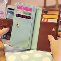 Samsung Galaxy S4 Wallet Love clover Wallet for Samsung Galaxy S4/S3 HTC ONE X iphone 5/4