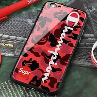 Champion & SUPREMECamouflage High Quality iPhone x Tempered Glass Phone Case Fashion Anti-Dropshell Camouflage Red