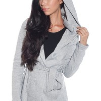 New Look Forecast A Spell Hooded Terry Jacket - Gray