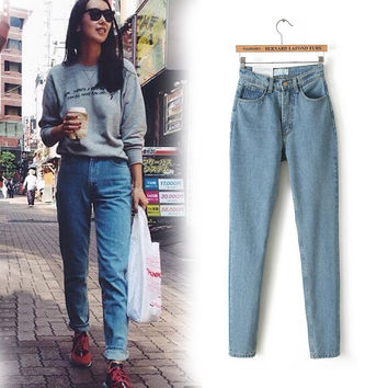 Slim Pencil Vintage High Waist Loose Cowboy Jeans
