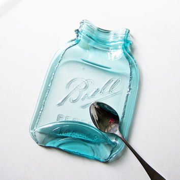Larger Melted Vintage Mason Jar, antique glass, blue spoon rest, butter dish, serving tray from recycled Ball quart jar, gift box included