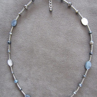 Oval Abalone Shell & Blue/Gray Tiger's Eye Beaded Necklace and Earring Set, Handmade, Beach Style, Classic, Simple Elegance, Fashion Jewelry