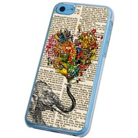 iphone 5C Vintage Newspaper Elephant Trunk Holding Floral love heart Design Case/Back COVER PLASTIC/METAL-Clear Frame