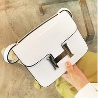Hermes New fashion leather shopping leisure shoulder bag women White