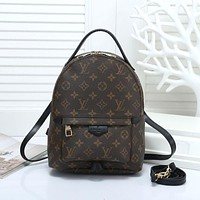 LV Louis Vuitton classic printed letters ladies backpack school bag Coffee lv print