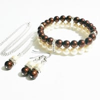 Bridesmaid Necklace Set / Pearl Wedding Bracelet Set  / Brown Wedding / Bridesmaid Jewelry / Pearl Earrings / Jewelry Set / Brown and Ivory