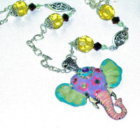 Boho Chic Elephant Pendant Hand Painted Colorful Bohemian Hippie Long Necklace