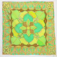 """Hand Painted Silk Scarf. """"Forest Green."""" 90x90cm. Green, Yellow, Brown. Original Design by Ma'at"""