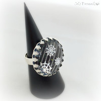 Black spiderweb ring, spooky gothic ring