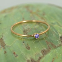 Tiny Solid Rose Gold Amethyst Ring