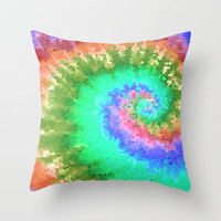 Tie Dye Wave Throw Pillow by Ally Coxon