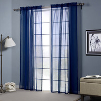 Dark Blue Europe Style Punching Sheer Curtain Balcony Bedroom Living Room Window Screen Decor