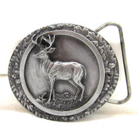 Bergamot Brass Works PEWTER Belt Buckle 1988 Whitetail Deer Hunter Gift Idea Jean Fashion Wear Vintage Western Wear Fathers Day