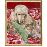 Red Chintz Poodle Framed Art