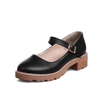Buckle Mary Janes Mid Heel Pumps Shoes 7690