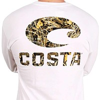 Realtree Max-4 Camo Long Sleeve Logo Tee in White by Costa Del Mar
