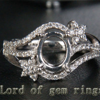 Unique 6x8mm Oval Cut Engagement Semi Mount Ring in 14K White Gold .32CT Diamond 6#