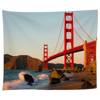 Golden Gate At Sunset Tapestry