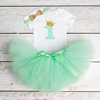 Flower Party Clothes Set Baby Girl One Years First Birthday Tutu Outfits for Girls Tulle Toddler Baby Clothing Suit