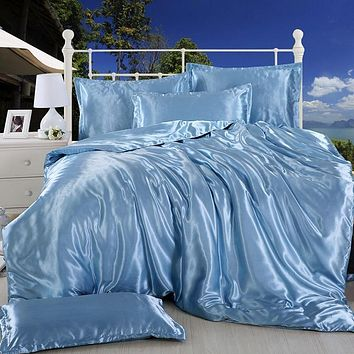 New 100% Pure Satin Silk Bedding Set Home Textile King Size Bed Set Bed Clothes Duvet Cover