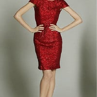 Little Starry Night Cocktail Sequined Evening Dress Knee Length