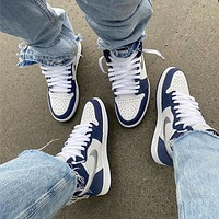 NIKE Air Jordan 1 AJ1 White blue and silver sneakers