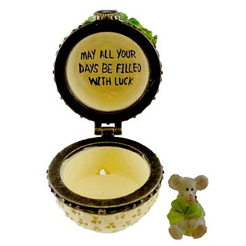 Boyds Bears Resin ERIN'S POT OF CLOVER WITH SEAMUS Treasure Box 4031618