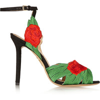 Charlotte Olympia - Roselina embroidered satin sandals
