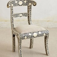 Bone Inlay Chair by Anthropologie in Black & White Size: One Size Furniture