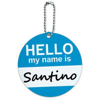 Santino Hello My Name Is Round ID Card Luggage Tag