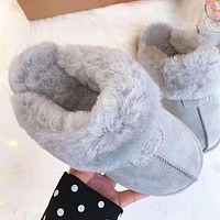 Hot Sale UGG Winter Ladies Men Warm Flat Snow Ankle Slipper Shoes Wool Boots Light Grey