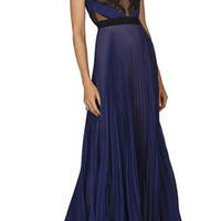 BCBG Cortney Sleeveless Pleated Lace-Trim Gown