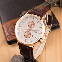 Mens Boys Classic Leather Strap Watch Casual Style Watches +  Beautiful Gift Box