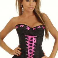 Black Pinstripe Pin-Up Burlesque Corset Intimates @ Amiclubwear Intimates Clothing online store:Lingerie,Corset,Bustier,Women's Intimates,Sexy Intimate,Corset Intimates,intimates underwear,sheer intimates,silk intimates,intimates bras,holiday underwear,ga
