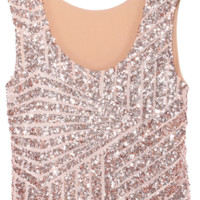 Geometric Sequin Cropped Tank Top - Pink
