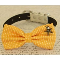Yellow Dog Bow tie attached to collar, beach, Polka dots , Wedding dog collar
