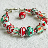 Christmas Lampwork bracelet Christmas beaded bracelet Glass beads bracelet Handmade glass bracelet Red Green White Handmade Gift for Her