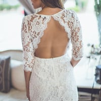 Open Back Lace Dress in White